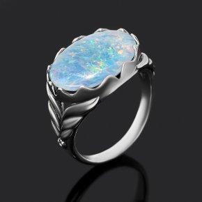 Кольцо опал благородный голубой (триплет) Австралия (серебро 925 пр. оксидир.) размер 17,5