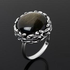 Кольцо обсидиан золотистый Мексика (серебро 925 пр. оксидир.) огранка размер 18,5