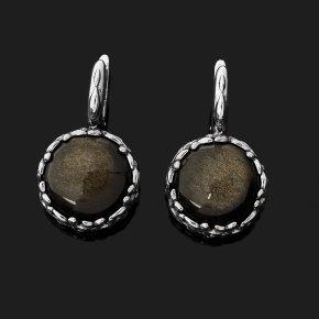 Серьги обсидиан золотистый Мексика (серебро 925 пр. оксидир.)