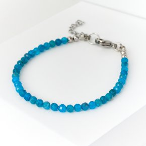 Браслет апатит синий Бразилия (биж. сплав, сталь хир.) огранка 3 мм 16 см (+3 см)