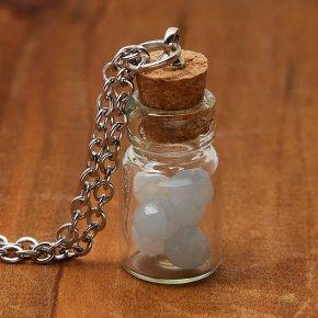 Кулон аквамарин Бразилия (биж. сплав, сталь хир., стекло) бутылочка огранка 3 см