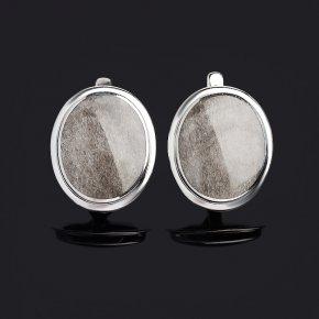 Серьги обсидиан серебристый Мексика (серебро 925 пр. родир. бел.)