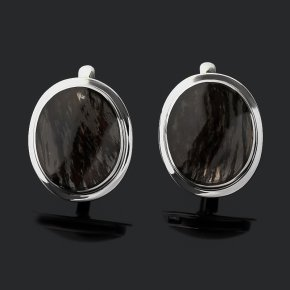 Серьги обсидиан прозрачный Армения (серебро 925 пр. родир. бел.)