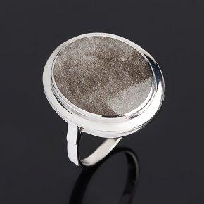 Кольцо обсидиан серебристый Мексика (серебро 925 пр. родир. бел.) размер 18