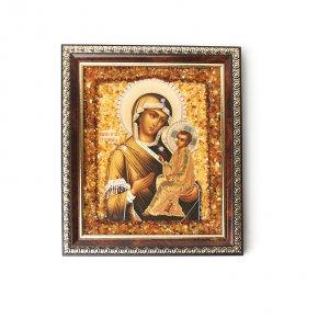 Изображение янтарь Россия Богоматерь Тихвинская 14х16,5 см