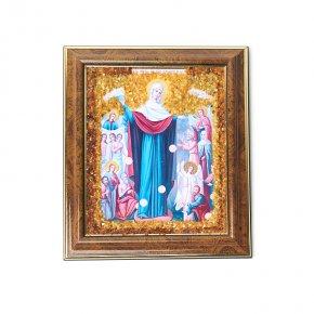 Изображение янтарь Россия Богоматерь Всех Скорбящих Радость 14,5х17 см