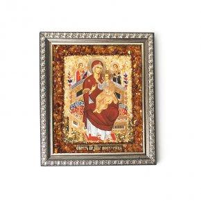 Изображение янтарь Россия Богоматерь Всецарица 14х16,5 см
