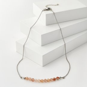 Бусы солнечный камень Индия (биж. сплав, сталь хир.) (колье) 6 мм 47 см (+7 см)