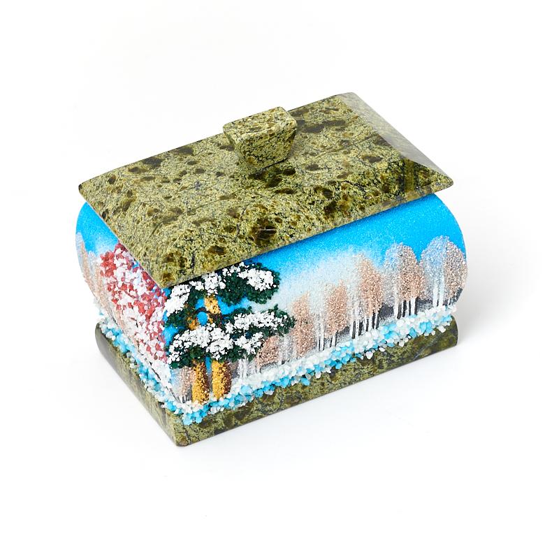 Шкатулка микс змеевик, мрамор 9х6,5х7 см