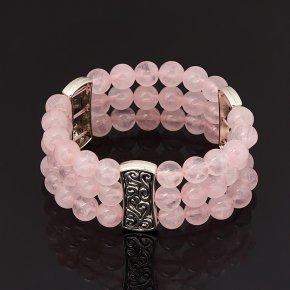 Браслет розовый кварц Бразилия (биж. сплав) 8 мм 16 см