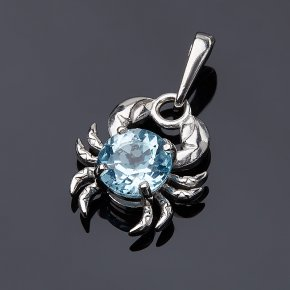 Кулон топаз голубой Бразилия (серебро 925 пр.) Рак огранка
