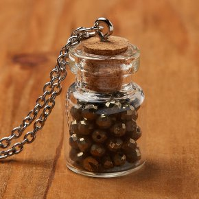 Кулон пирит (биж. сплав, сталь хир., стекло) бутылочка огранка 2,5 см