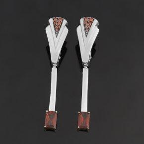 Серьги гранат альмандин Индия (серебро 925 пр. родир. бел., родир. черн.) огранка