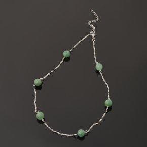Бусы авантюрин зеленый Индия (биж. сплав, сталь хир.) (цепочка) 10 мм 48 см (+7 см)