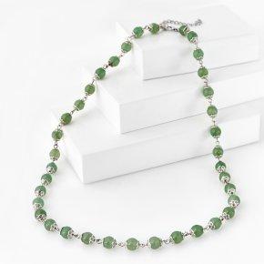 Бусы авантюрин зеленый Индия (биж. сплав, сталь хир.) длинные 8 мм 60 см (+7 см)
