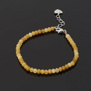Браслет опал желтый Перу (биж. сплав) огранка 4 мм 16 см (+3 см)