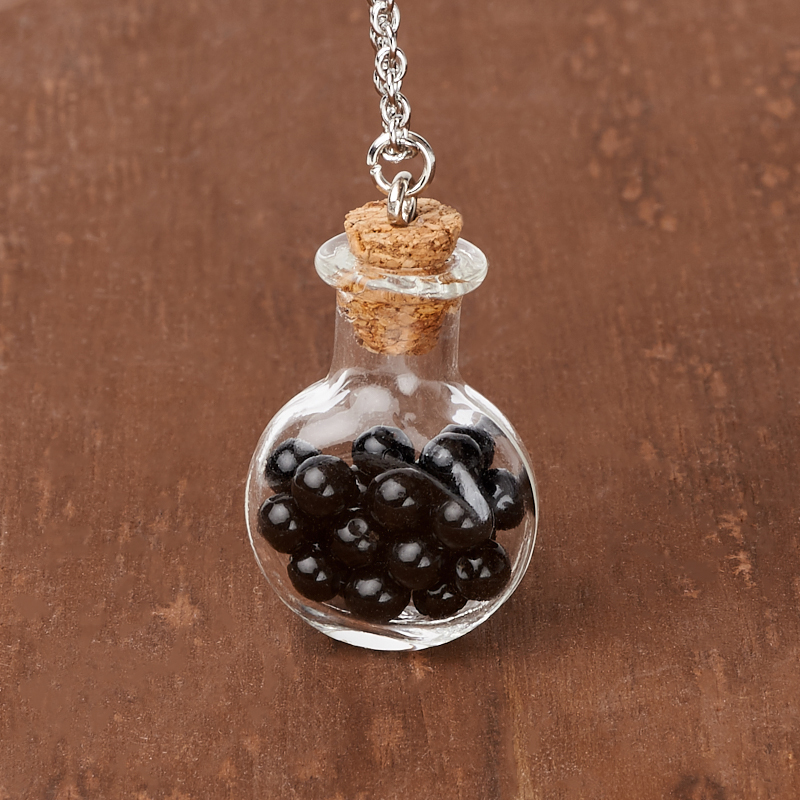 Кулон агат черный  (биж. сплав, сталь хир., стекло) бутылочка 3 см