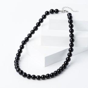 Бусы агат черный Бразилия (биж. сплав, сталь хир.) 10 мм 46 см (+7 см)