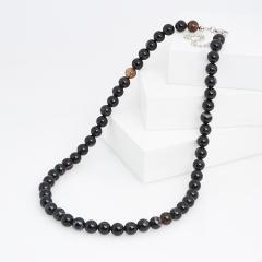 Бусы агат черный Бразилия (биж. сплав, сталь хир.) 8 мм 46 см (+7 см)