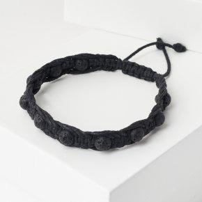 Браслет вулканическая лава Бразилия (текстиль) шамбала 6 мм 16 см (регулируемый)