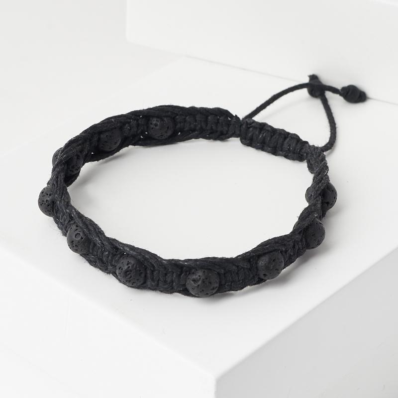 Браслет вулканическая лава  (текстиль) шамбала