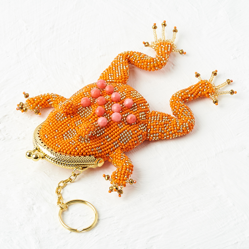 Кошелек коралл розовый (биж. сплав, текстиль) (монетница) огранка