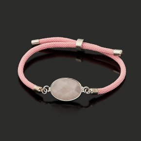 Браслет розовый кварц Бразилия (биж. сплав, текстиль) огранка 16 см (регулируемый)