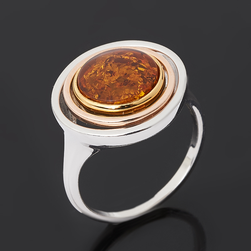 Кольцо янтарь (серебро 925 пр. позолота, родир. бел.) размер 18