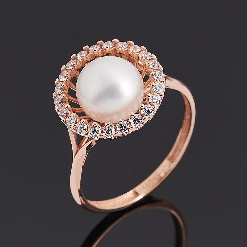 Кольцо жемчуг белый (серебро 925 пр. позолота) размер 18