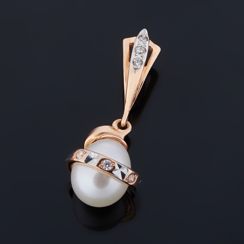 Кулон жемчуг белый (серебро 925 пр. позолота)
