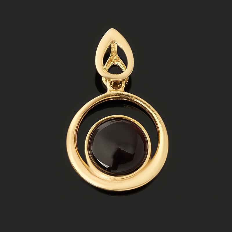 Кулон янтарь (серебро 925 пр. позолота) круг