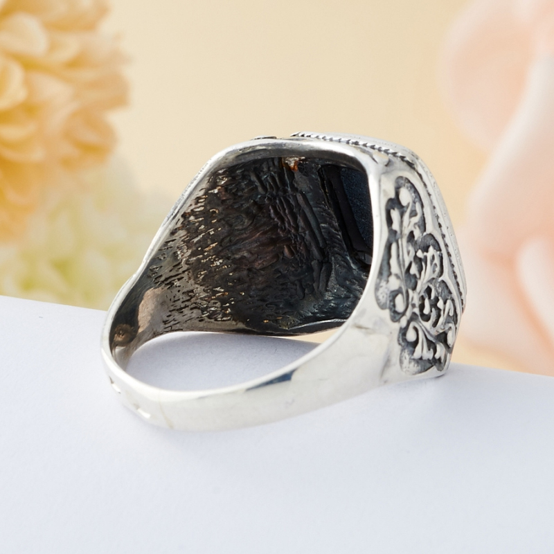 Кольцо соколиный глаз ЮАР (серебро 925 пр.) размер 21,5
