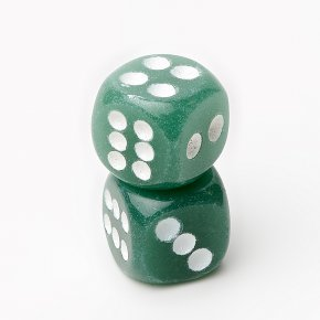 Кости игральные авантюрин зеленый Индия 1,5 х 1,5 см (1 шт)