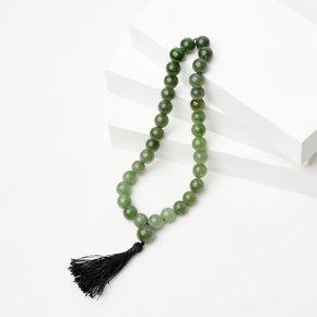 Четки нефрит зеленый Россия (текстиль) 10 мм (32 бусины)