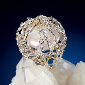 Кольцо жемчуг кеши розовый (серебро 925 пр. позолота, родир. бел.) (регулируемый) размер 17
