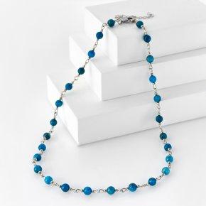 Бусы апатит синий Бразилия (биж. сплав, сталь хир.) 6 мм 46 см (+7 см)