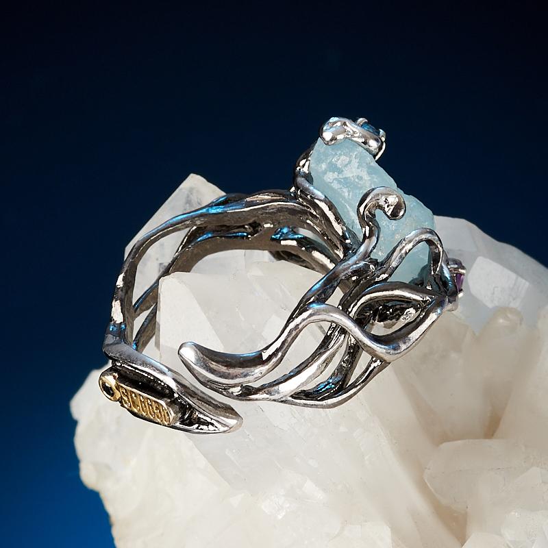 Кольцо аквамарин Пакистан (серебро 925 пр. позолота, родир. бел., родир. черн.) (регулируемый) размер 17,5