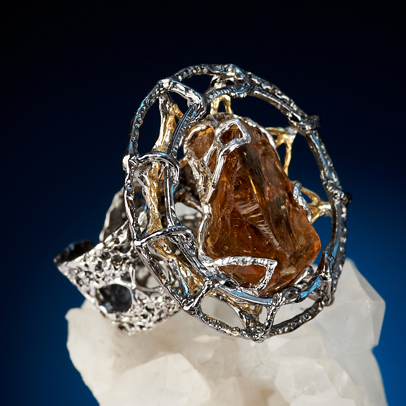 Кольцо цитрин Бразилия (серебро 925 пр. позолота, родир. бел., родир. черн.) (регулируемый) размер 17,5
