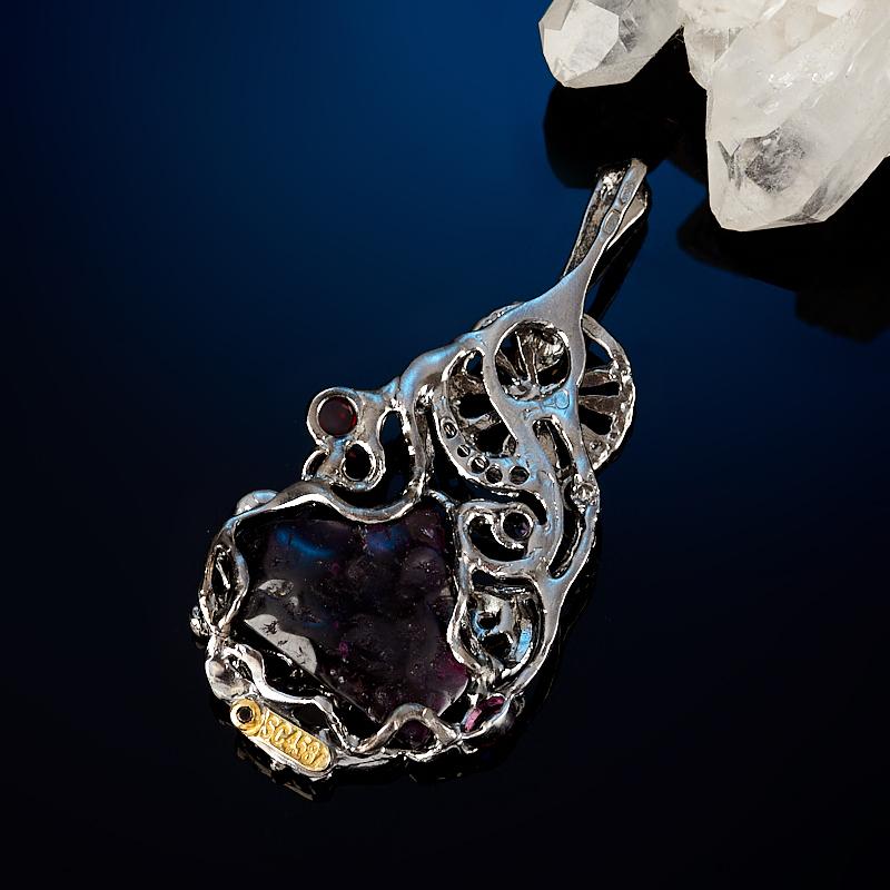 Кулон гранат родолит Бразилия (серебро 925 пр. позолота, родир. черн.)