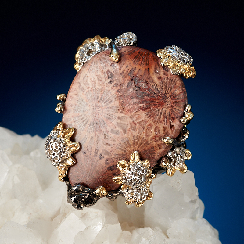 Кольцо коралл Индонезия (серебро 925 пр. позолота, родир. бел., родир. черн.) (регулируемый) размер 19