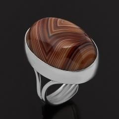 Кольцо агат коричневый Ботсвана (серебро 925 пр. родир. бел.) (регулируемый) размер 17,5