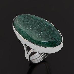 Кольцо авантюрин зеленый Зимбабве (серебро 925 пр. родир. бел.) (регулируемый) размер 17,5