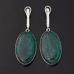 Серьги авантюрин зеленый Зимбабве (серебро 925 пр. родир. бел.)