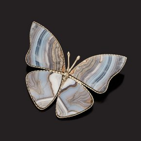 Брошь агат серый Ботсвана (мельхиор)