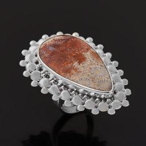 Кольцо коралл Индонезия (серебро 925 пр. родир. бел.) (регулируемый) размер 18