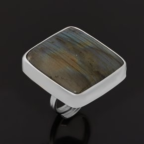 Кольцо лабрадор Мадагаскар (серебро 925 пр. родир. бел.) (регулируемый) размер 18