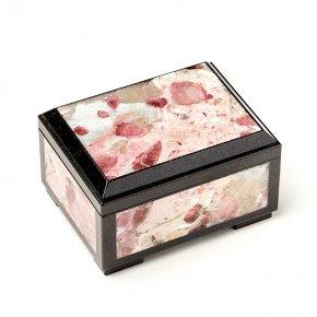Шкатулка турмалин розовый (рубеллит) Бразилия (биж. сплав) 9,5х7х5,5 см