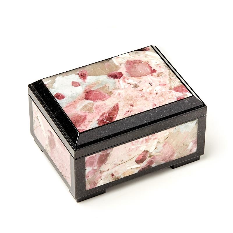 Шкатулка турмалин розовый (рубеллит) (биж. сплав) 9,5х7х5,5 см