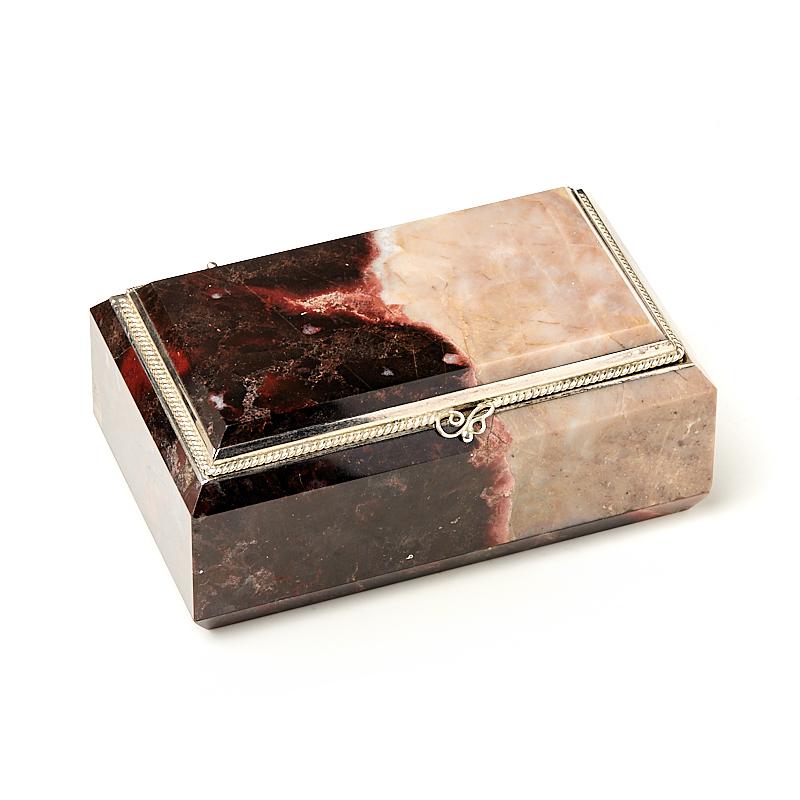 Шкатулка яшма уральская (мельхиор) 9,5х5,5х4 см