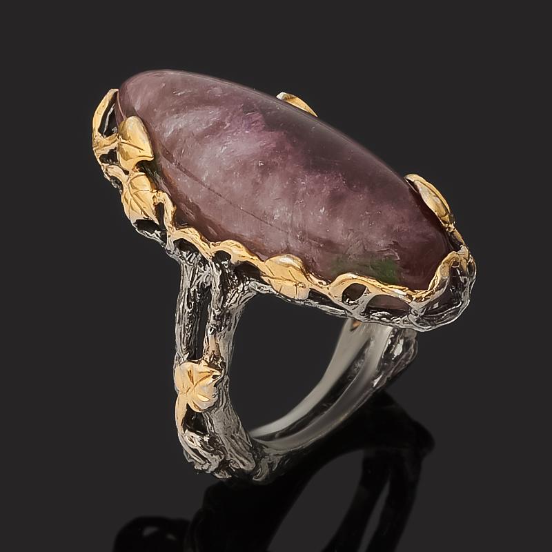 Кольцо турмалин розовый (рубеллит) Россия (серебро 925 пр. позолота, родир. черн.) размер 16,5